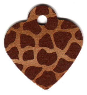 Heart Shaped Giraffe Print Pet ID Tag with Custom Engraving