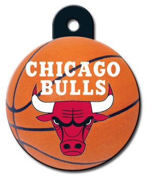 Chicago Bulls Circle Shaped Pet ID Tag with Custom Engraving