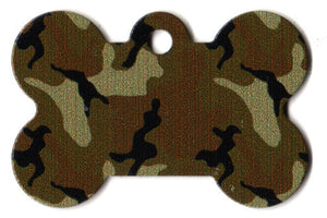Camouflage Bone Shaped Dog ID Tag with Custom Engraving