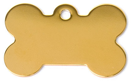 Brass Bone Shaped Dog ID Tag with Custom Engraving
