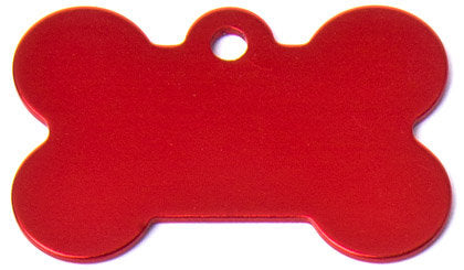 Aluminum Red Bone Shaped Dog ID Tag with Custom Engraving