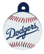 Los Angeles Dodgers Circle Shaped Dog ID Tag with Custom Engraving