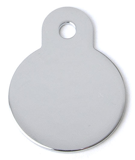 Brushed Chrome Circle Shaped Dog ID Tag with Custom Engraving
