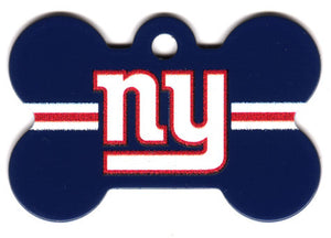 New York Giants Bone Shaped Dog ID Tag with Custom Engraving