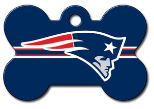 New England Patriots Bone Shaped Dog ID Tag with Custom Engraving