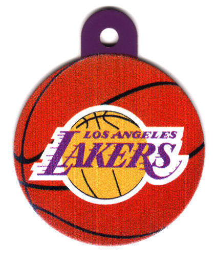 Los Angeles Lakers Circle Shaped Dog ID Tag with Custom Engraving