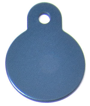 Blue Aluminum Circle Shaped Pet ID Tag with Custom Engraving