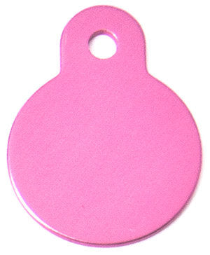 Pink Aluminum Circle Shaped Pet ID Tag with Custom Engraving