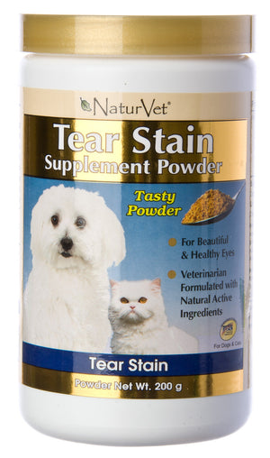 NaturVet Tear Stain Supplement Powder for Cats and Dogs