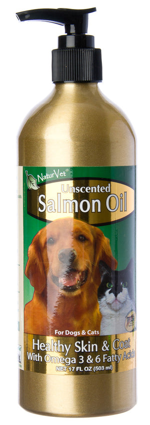 NaturVet Unscented Salmon Oil Supplement for Cats and Dogs