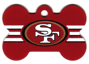 San Francisco 49ers Bone Shaped Dog ID Tag with Custom Engraving