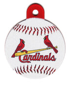 St Louis Cardinals Circle Shaped Pet ID Tag with Custom Engraving