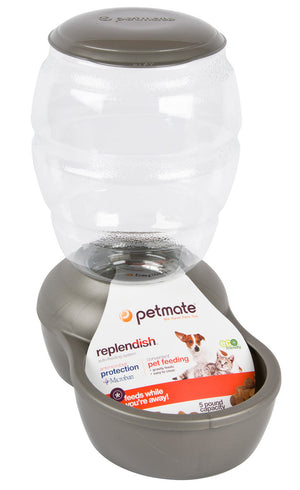 Petmate Replendish Pet Food Feeder with Microban Brushed Nickel