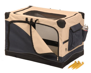 Precision Pet Soft-Side Pet Crate 3000 Navy/Tan