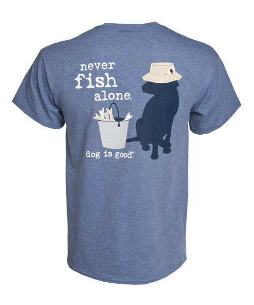 Dog is Good T-shirt: Never Fish Alone, Unisex