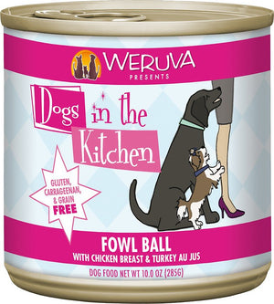 Weruva Dogs in the Kitchen Fowl Ball with Chicken Breast & Turkey Au Jus Grain-Free Canned Dog Food, 10-oz can