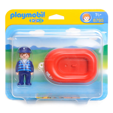 Playmobil - 1-2-3 Sailor in Rubber Boat - 6795 - Bunyip Toys - 1