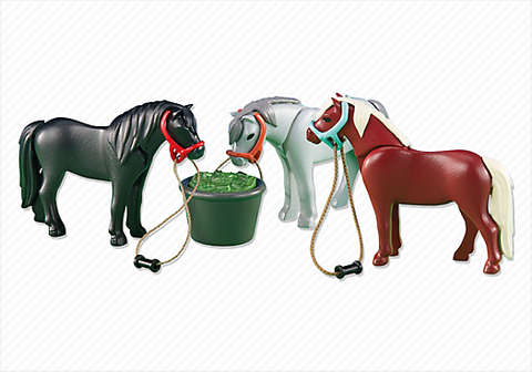 Playmobil - 3 Ponies with Feeding Bucket - 6256 - Bunyip Toys