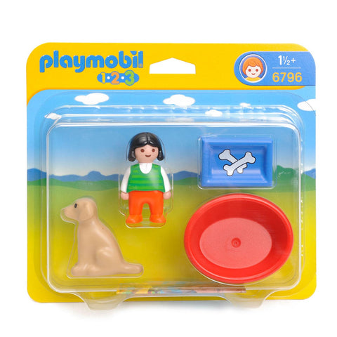 Playmobil - 1-2-3 Girl with Dog - 6796 - Bunyip Toys - 1