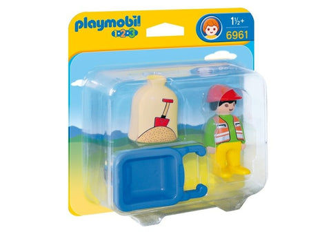 Playmobil - 1-2-3 Worker with Wheelbarrow - 6961 - Bunyip Toys