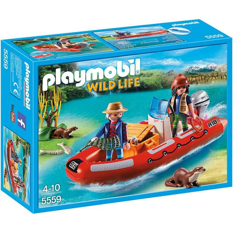 Playmobil - Researchers with Dinghy and Otters - 5559 - Bunyip Toys - 1