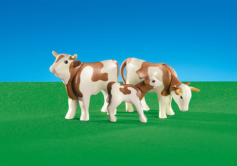 Playmobil - Brown and White Cows - 6356 - Bunyip Toys
