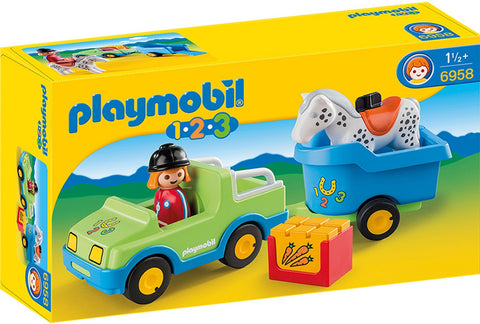 Playmobil - 1-2-3 Car and Horse Trailer - 6958 - Bunyip Toys - 1