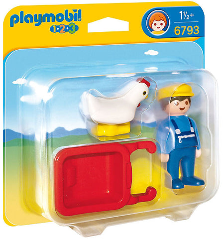 Playmobil - 1-2-3 Farmer with Wheelbarrow - 6793 - Bunyip Toys - 1