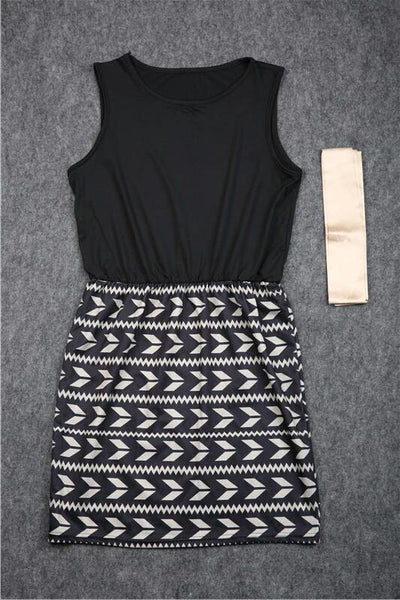 Black And Gold Sleeveless Dress