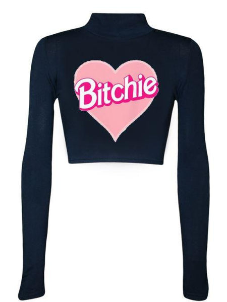 Bitchie Print Crop Top Sweater