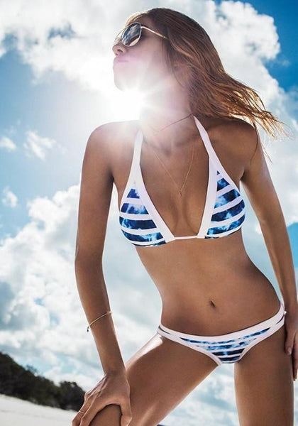 Blue White Striped Sky Cloud Bikini Set