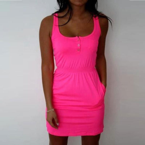 Slim Mini Candy Color Sundress