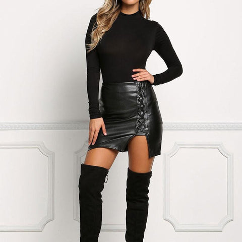 Lace Up Leather Pencil Skirt