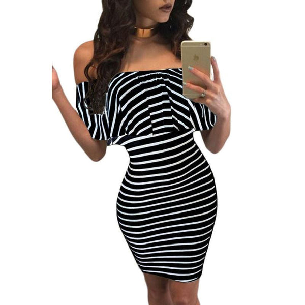 Striped Off The Shoulder Bodycon Summer Dress