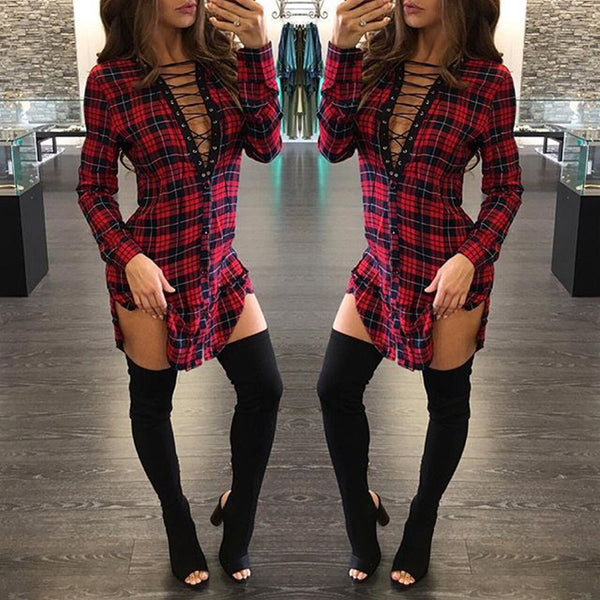 Plaid Sexy Deep V Neck Lace Up Dress