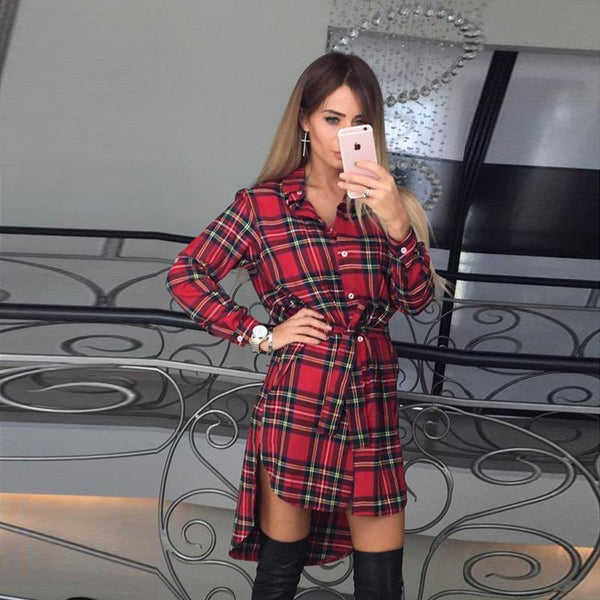 Long Sleeve Plaid Shirt Dress