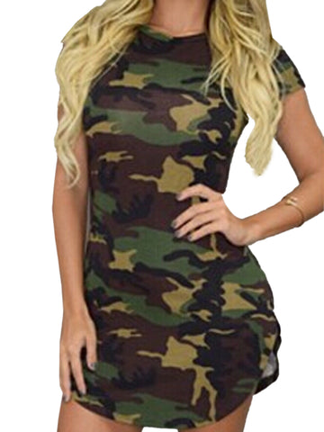 Short Sleeve Sexy Bodycon Mini Camouflage Dress
