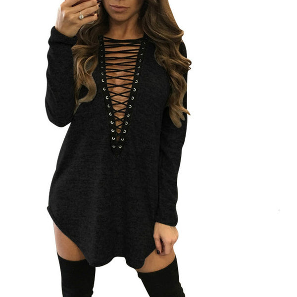 Sexy Lace Up V Neck Long Sleeve Loose Mini Dress