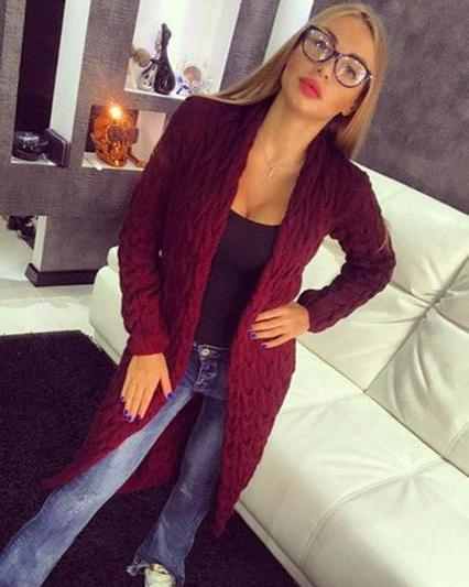 Autumn And Winter Long Sleeve Knitted Cardigan