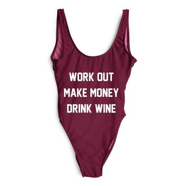 Work Out Make Money Drink Wine Bodysuit One Piece