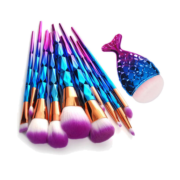 11Pcs Mermaid Fishtail Shaped Makeup Brush Set