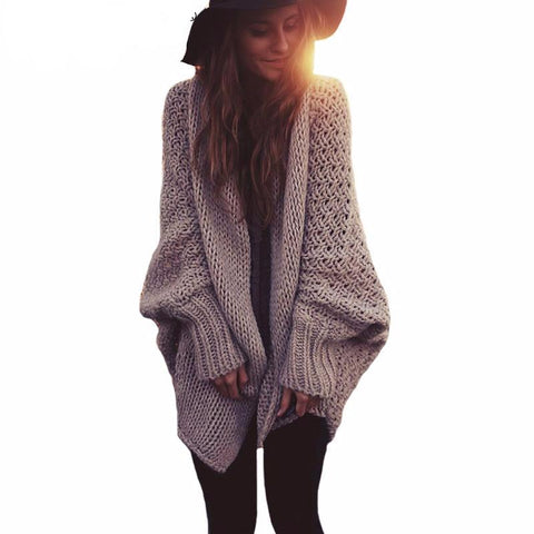 Oversized Batwing Sleeve Knitted Cardigan