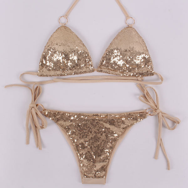 Sequins Bikini Set Halter Metal Swimsuit