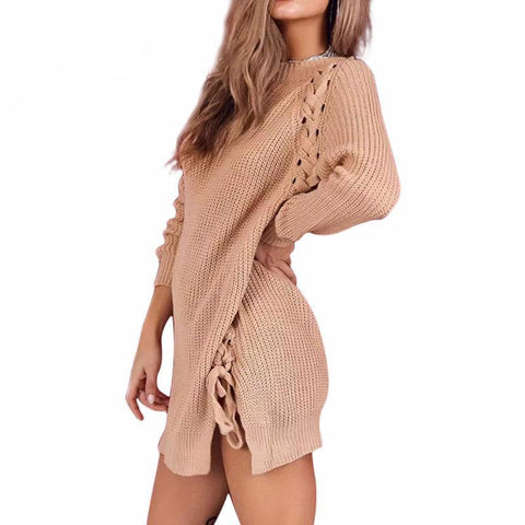 Side Lace Up Winter Sweater Dress