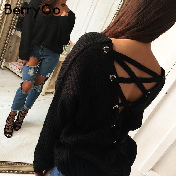 Sexy Backless Lace Up Sweater