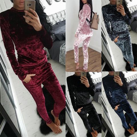 Long Sleeve Velvet Jumpsuit