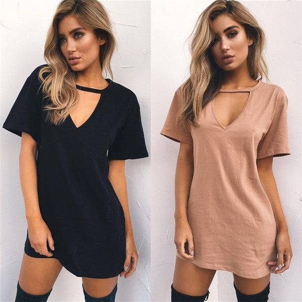 T Shirt Choker V Neck Mini Dress