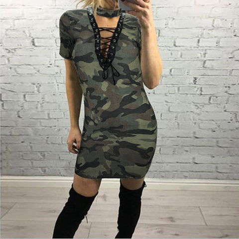 Cut Out Lace Up Camouflage Print Dress