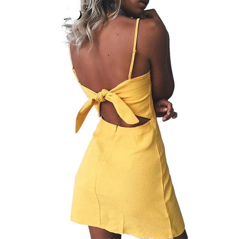 Backless Bow Slim Fit Bodycon