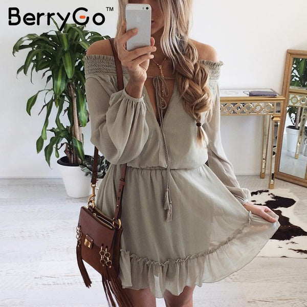 Off Shoulder Long Sleeve Chiffon Vintage Dress